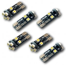 6 Veilleuses LED W5W T10 Canbus anti-erreur ODB Blanc Xénon 8 SMD