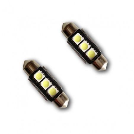 2 ampoules navette LED C5W 39mm Canbus anti-erreur ODB Blanc Xénon 3 SMD