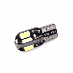 1 Veilleuse LED W5W T10 Canbus anti-erreur ODB Blanc Xénon 8 SMD 360°