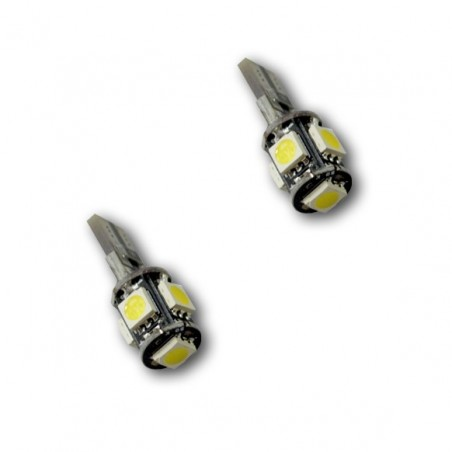 2 Veilleuses LED W5W T10 Canbus anti-erreur ODB Blanc Xénon 5 SMD
