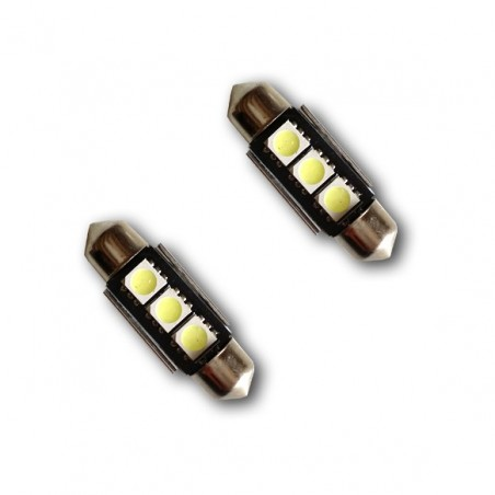 2 ampoules navette LED C5W 36mm Canbus anti-erreur ODB Blanc Xénon 3 SMD