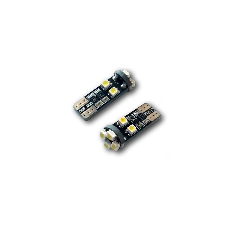 2 Veilleuses LED W5W T10 Canbus anti-erreur ODB Blanc Xénon 8 SMD