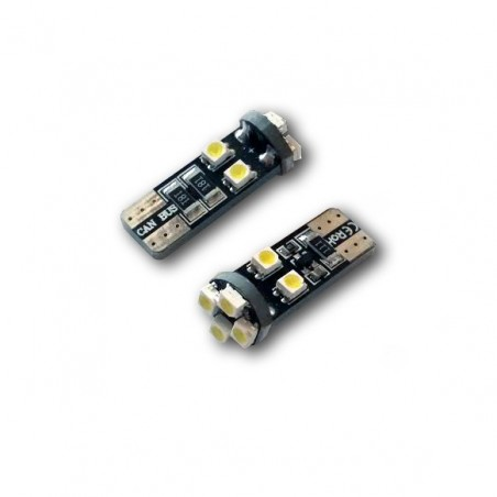 2 Veilleuses LED W5W T10 Canbus anti-erreur ODB Blanc Xenon 8 SMD
