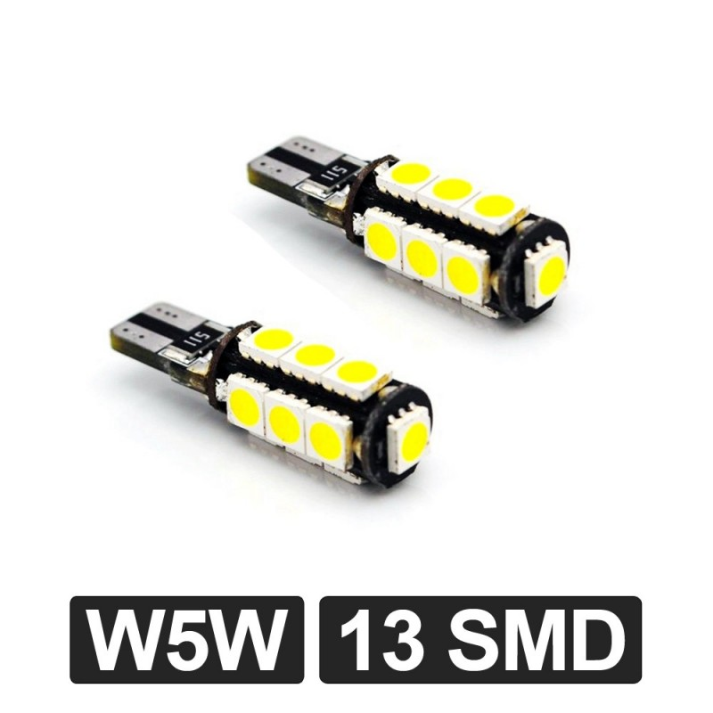 2 Veilleuses LED W5W T10 Canbus anti-erreur ODB Blanc Xénon 13 SMD