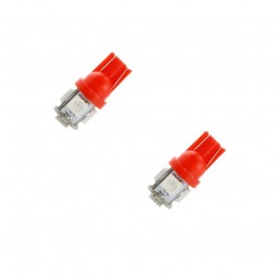 2 Veilleuses ampoules LED W5W T10 Rouge 5 SMD