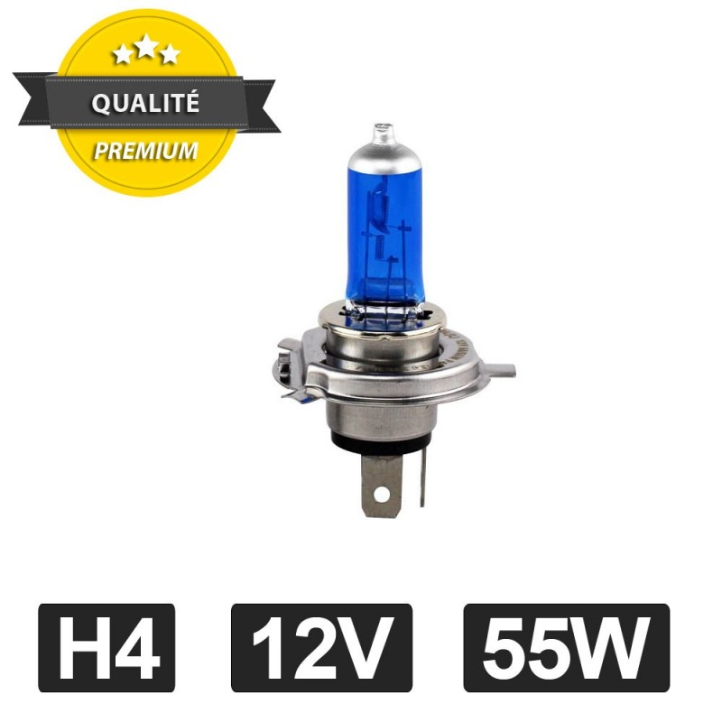 Kit DE 2 Ampoule Halogene XENON GAZ SUPER WHITE H4 55W 6500K 12V